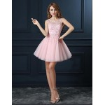 Cocktail Party Dress - Champagne Ball Gown Jewel Short/Mini Tulle Special Occasion Dresses