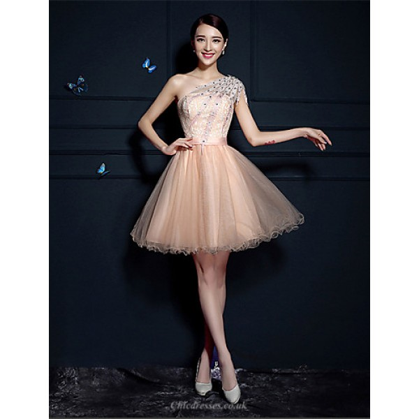 Cocktail Party Dress - Champagne A-line One Shoulder Short/Mini Tulle Special Occasion Dresses