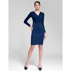 Cocktail Party Dress Ink Blue Sheath Column V Neck Knee Length Polyester