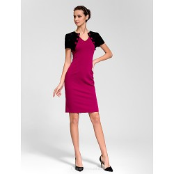 Cocktail Party Dress - Multi-color Sheath/Column V-neck Knee-length Polyester