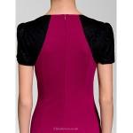Cocktail Party Dress - Multi-color Sheath/Column V-neck Knee-length Polyester Celebrity Dresses