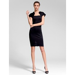 Cocktail Party Dress Black Sheath Column Queen Anne Short Mini Cotton