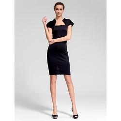 Cocktail Party Dress - Black Sheath/Column Queen Anne Short/Mini Cotton