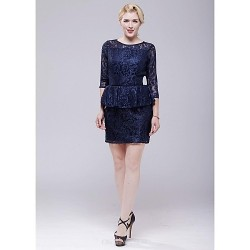 Cocktail Party Dress Dark Navy Sheath Column Scoop Short Mini Lace