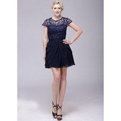 Cocktail Party Dress - Dark Navy A-line Scoop Short/Mini Chiffon / Lace