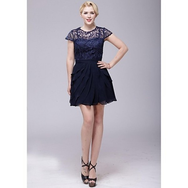 Cocktail Party Dress - Dark Navy A-line Scoop Short/Mini Chiffon / Lace Special Occasion Dresses
