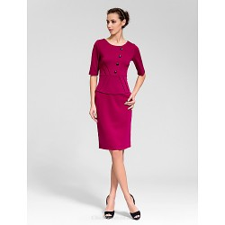 Cocktail Party Dress Fuchsia Sheath Column Jewel Knee Length Polyester