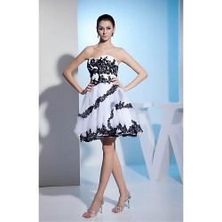 Cocktail Party Dress - White Ball Gown Strapless Short/Mini Organza