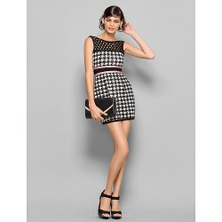 Dress Multi Color Petite Sheath Column Bateau Short Mini Silk