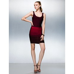 Dress - Multi-color Petite Sheath/Column Scoop Short/Mini Silk