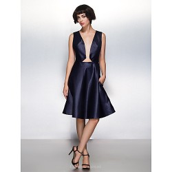 Cocktail Party Dress A Line V Neck Knee Length Satin Dress