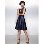 Cocktail Party Dress A-line V-neck Knee-length Satin Dress Special Occasion Dresses