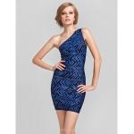 Cocktail Party Dress - Multi-color Petite Sheath/Column One Shoulder Short/Mini Rayon Special Occasion Dresses