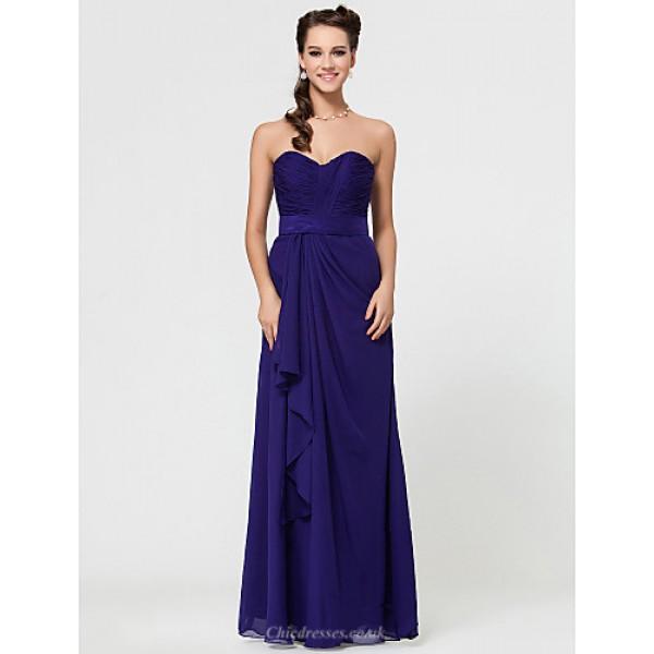 Sheath/Column Sweetheart Floor-length Chiffon Bridesmaid Dress With Cascading Ruffles Special Occasion Dresses