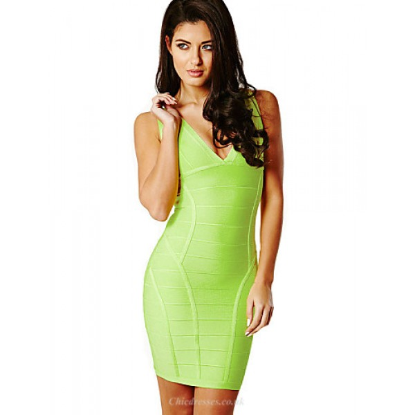 Cocktail Party Dress - Lime Green Petite Sheath/Column V-neck / Straps Short/Mini Rayon Special Occasion Dresses