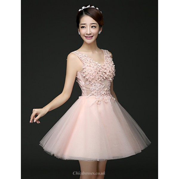 Cocktail Party Dress - Blushing Pink / Lilac A-line V-neck Short/Mini Tulle Special Occasion Dresses