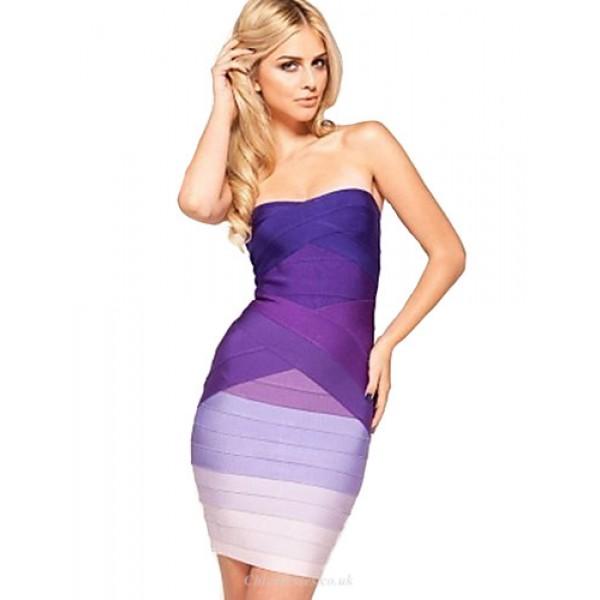 Cocktail Party Dress - Regency / Fuchsia Petite Sheath/Column Strapless Short/Mini Rayon Special Occasion Dresses