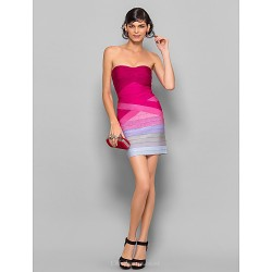 Dress - Multi-color Petite Sheath/Column Strapless Short/Mini Silk