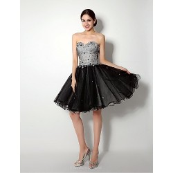 Cocktail Party Dress Black A Line Sweetheart Short Mini Knee Length Tulle