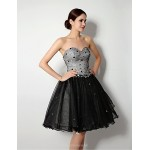Cocktail Party Dress - Black A-line Sweetheart Short/Mini / Knee-length Tulle Special Occasion Dresses