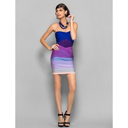 Dress Multi Color Petite Sheath Column Strapless Short Mini Silk