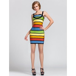 Cocktail Party Dress Multi Color Petite Sheath Column Straps Short Mini Rayon