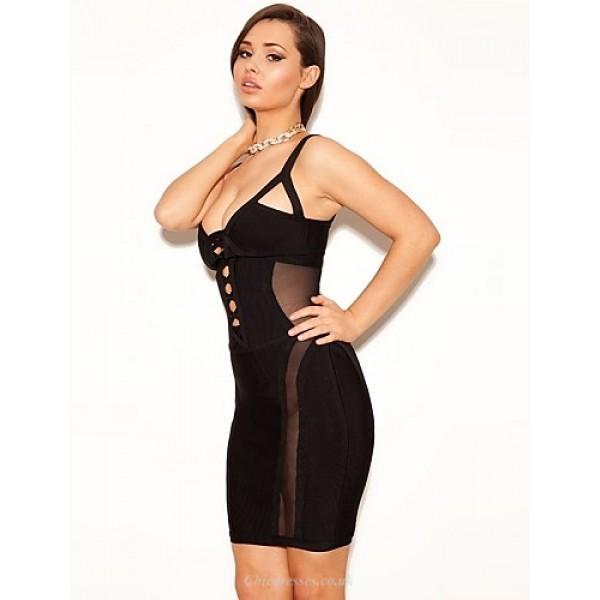 Cocktail Party Dress - Black Petite Sheath/Column Spaghetti Straps Short/Mini Spandex / Rayon / Nylon Taffeta Special Occasion Dresses