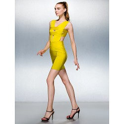 Dress Daffodil Petite Sheath Column V Neck Short Mini Silk