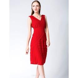 Cocktail Party Dress Ruby Sheath Column V Neck Knee Length Chiffon