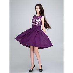 Cocktail Party Dress Grape Ball Gown Scoop Short Mini Chiffon
