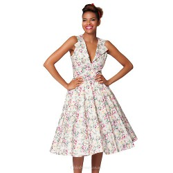 Tea Length Cotton Bridesmaid Dress Multi Color A Line V Neck