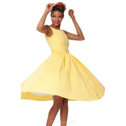 Tea-length Cotton Bridesmaid Dress - Yellow A-line Bateau