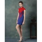Cocktail Party Dress - Royal Blue / White Sheath/Column High Neck Short/Mini Satin Celebrity Dresses