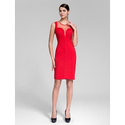 Cocktail Party Dress Ruby Sheath Column Jewel Knee Length Polyester