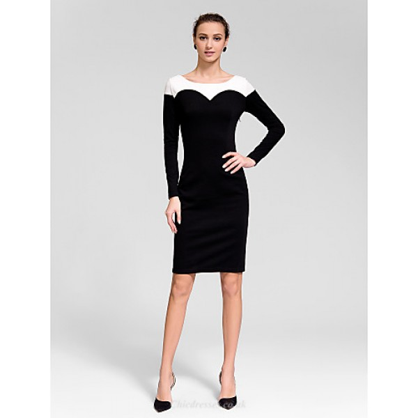 Cocktail Party Dress - Black Sheath/Column Jewel Knee-length Polyester Celebrity Dresses