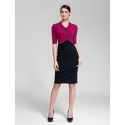 Cocktail Party Dress Multi Color Sheath Column V Neck Knee Length Polyester