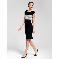 Cocktail Party Dress Black Sheath Column Scoop Knee Length Polyester