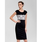 Cocktail Party Dress - Black Sheath/Column Scoop Knee-length Polyester Celebrity Dresses