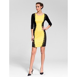 Cocktail Party Dress Multi Color Sheath Column Jewel Short Mini Polyester