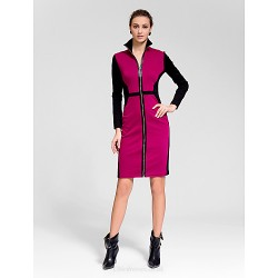 Cocktail Party Dress Multi Color Sheath Column High Neck Knee Length Polyester