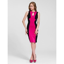 Cocktail Party Dress Fuchsia Sheath Column Jewel Knee Length Cotton