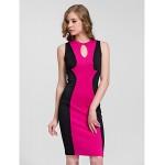 Cocktail Party Dress - Fuchsia Sheath/Column Jewel Knee-length Cotton Celebrity Dresses