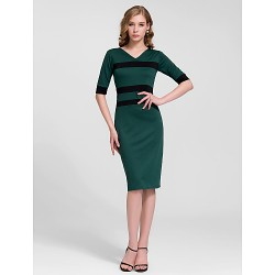 Cocktail Party Dress - Dark Green Sheath/Column V-neck Knee-length Cotton