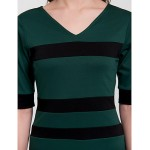 Cocktail Party Dress - Dark Green Sheath/Column V-neck Knee-length Cotton Celebrity Dresses