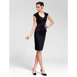 Cocktail Party Dress Ruby White Black Sheath Column Queen Anne Knee Length Cotton