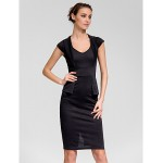 Cocktail Party Dress - Ruby / White / Black Sheath/Column Queen Anne Knee-length Cotton Celebrity Dresses