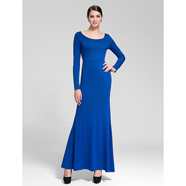Cocktail Party Dress - Royal Blue Sheath/Column Scoop Floor-length Polyester Celebrity Dresses