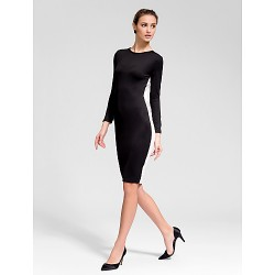 Cocktail Party Dress Black Sheath Column Jewel Knee Length Knit