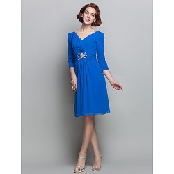 Sheath/Column V-neck Chiffon Cocktail Dress