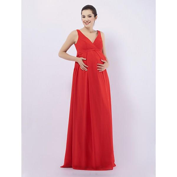 Floor-length Chiffon Bridesmaid Dress - Ruby Maternity Sheath/Column V-neck / Straps Special Occasion Dresses